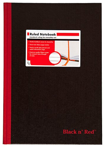 51XqRJnZ84L. SL500  Black n Red Casebound Hardcover Notebook, 11 3/4 x 8 1/4 Inches, Black, 192 sheets (D66174)