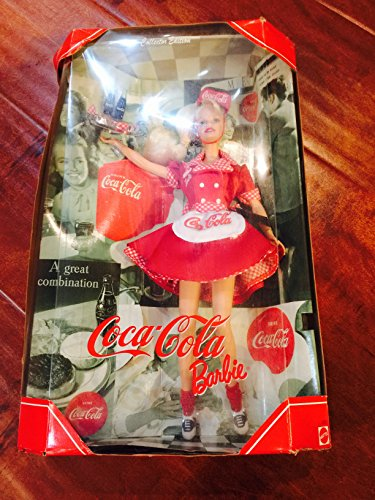 Mattel Year 1998 Barbie Collector Edition: Coca-Cola Barbie as a Waitress. (Old Barbies compare prices)