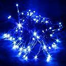 Letpower Bleu 10mètres 80 leds Guirlande led lampe ampoule éclairage solaire étanche pour jardin décoration extérieur intérieure lumineuse idéal pour Noël , fêtes , mariages, maison, sapin de noël, etc