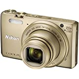 Nikon Coolpix S7000 16 MP Point and Shoot Camera (Gold) with 20x Optical Zoom, 8GB Memory Card and Camera Case