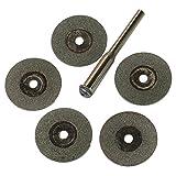 VERY100 20mm Mini Diamond Cutting Discs w/1 Arbour Fit Rotary Dremel Tools Jewelry (5pcs)