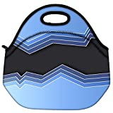 Snoogg Mirrow Waves 2469 Travel Outdoor Carry Lunch Bag Picnic Tote Box Container Zip Out Removable Carry Lunchbox Handle Tote Lunch Bag Food Bag For School Work Office