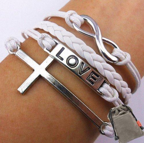 White Leather Rope Vintage Infinity Bracelet