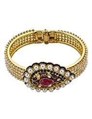 The Jewelbox Ruby Pearl Meenakari Gold Plated Openable Kada Bangle Bracelet