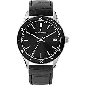 Jacques Lemans Rome Sports 1-1622ZA 44mm Stainless Steel Case Black Calfskin Mineral Men's & Women's Watch
