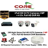 CORE 4-CH FULL HD DVR 2-MP ( 1080P). WITH 1-TB HARD DISK , 2-MP DOME CAMERA 2-PC, 2-MP BULLET 1-PC,4-CH POWER SUPPLY , 3+1 WIRE ROLL, WITH BNC /DC CONNECTORS COMBO PACK.
