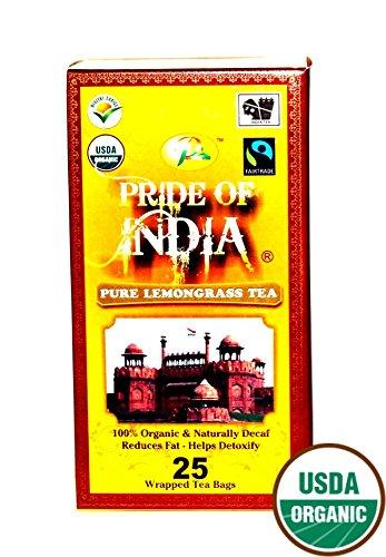 Pride Of India - Organic Lemongrass Tea, 25 Tea Bags (Decaf)