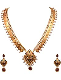 Zeneme Yellow Gold Plated Laxmi Temple Coinlong Chain Necklace & Earrings Set For Women