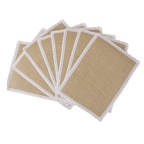 10pcs Hessian Burlap Table Mats w/ Lace Placemat Wedding Party Decor 30x22cm