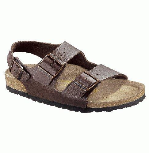 Birkenstock Unisex-Adult Milano 34703 Sandals 41 Narrow Dark Brown front-748535