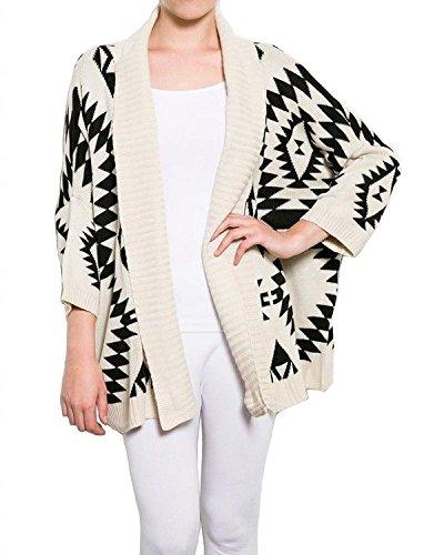 Taiycyxgan Aztec Geometric Print Batwing Knitwear Oversized Open Front Cardigan (...