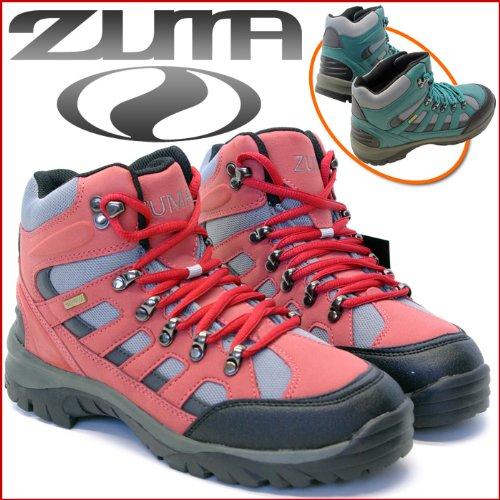 ハイキングや軽登山を楽しむ♪ミドルカット◇トレッキングシューズ★ZM-300 レッド・グリーン◆22.5cm~29cm