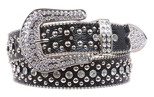 Ladies Rhinestone Studs Croco Print Leather Belt Color: Black Size: M/L - 35