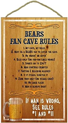 Chicago Bears Fan Cave Rules Wood Sign (Please see item detail in description)