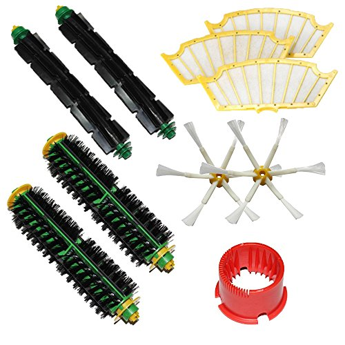 Shp-Zone Bristle Brush & Flexible Beater Brush & Side Brush 6-Armed & Filters & Brush Cleaning Tool Pack Mega Kit For Irobot Roomba 500 Series Roomba 510, 530, 535, 540, 560, 570, 580, 610 Vacuum Cleaning Robots All Green, Red, Black Cleaning Head front-538427
