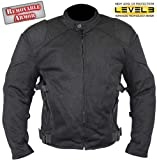 Men's Black Mesh Padded with Level-3 Advanced Armored Motorcycle Jacket