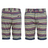 Lee Cooper Mens Striped Turn Up Shorts Zip Fly Bel Loop Fold Up Cuffs Cotton