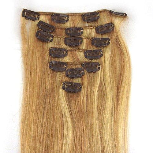 RemyHair Remy Echthaar Haarverlaengerung Clip-In-Extensions 38CM 16clips 70g#18613 mischen
