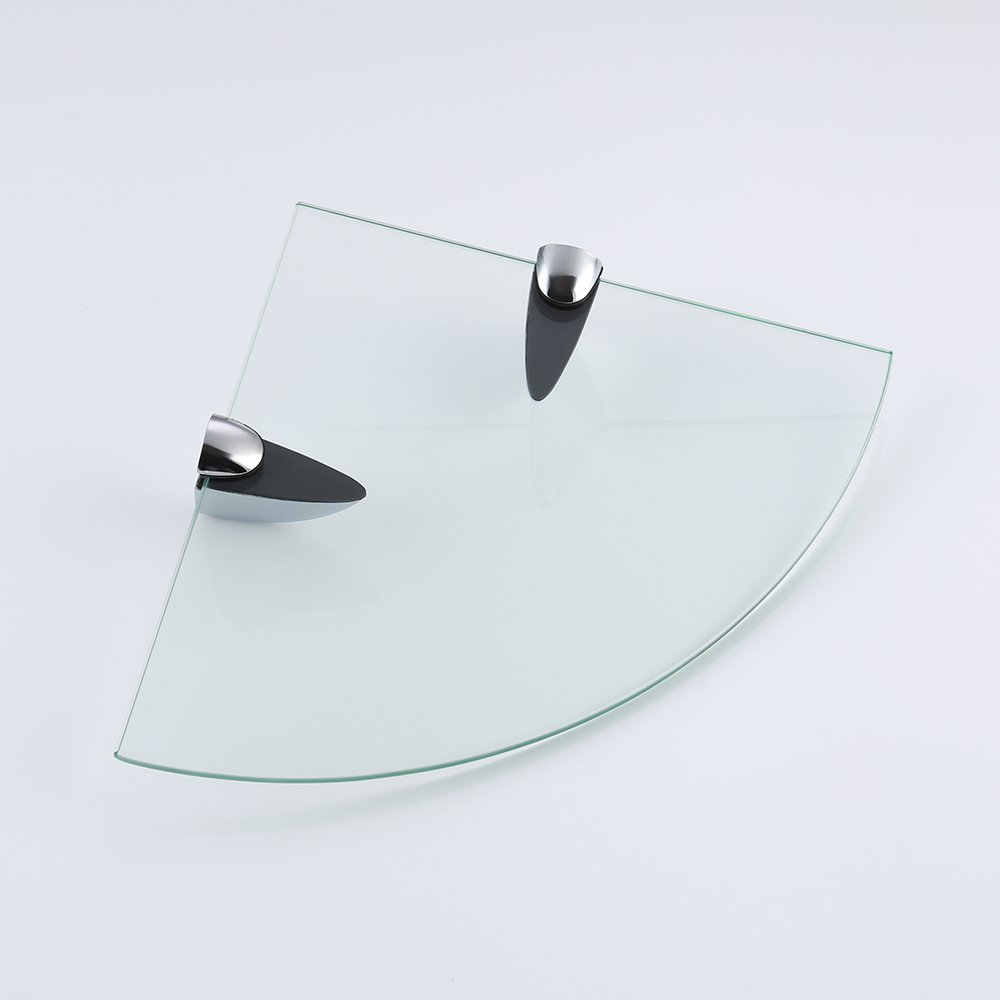 KES BGS3100 Lavatory Bathroom Corner Tempered Glass Shelf 8MM-Thick Wall Mount Triangular, Polished Chrome
