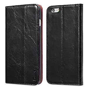 iPhone 6s Plus / 6 Plus Case, Benuo [Vintage Book Series] [Card Holder] Genuine Leather Case [Ultra Soft], Protective Folio Case Flip Cover with Stand Function for Apple iPhone 6s Plus / iPhone 6 Plus 5.5 inch (Black)