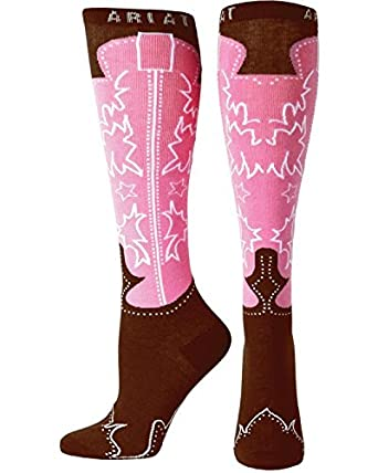Ariat Women's Knee High Western Boot Socks Brown One Size