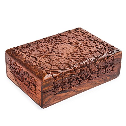Rusticity Medium Decorative Box - 7 in x 5 in - Intricately Carved Jewelry Box - Handmade from Indian Rosewood