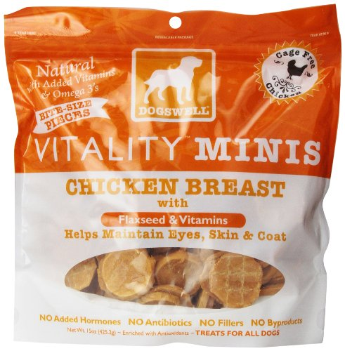 Dogswell Vitality Minis Chicken Breast Jerky Dog, Treats For All Dogs, 15-Ounce Pouch