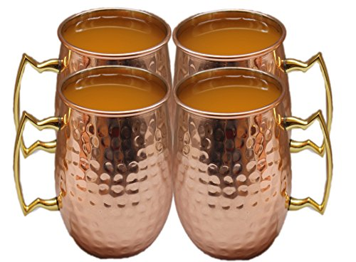STREET CRAFT Authentic Hand Hammered Pure Copper Moscow Mule Mug with,Copper Moscow Mule Mugs / Cups, Capacity-18 Oz ,100% Food Grade Copper Set Of - 4.