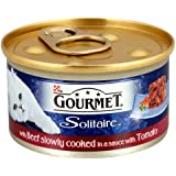 Gourmet Solitaire with Beef Slowly Cooked in a Sauce with Tomato Wet Cat Food 85 g (Pack of 12)