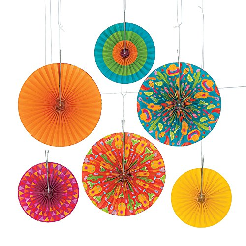 "Let's Fiesta! Hanging Fans (6 Pcs. Per Unit) Paper. 10"" and 14"". by Unknown"