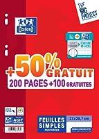 Oxford Scolaire 400019114 Feuillet mobile perforé A4 21 x 29.7 cm  90g 200 pages + 100 gratuites