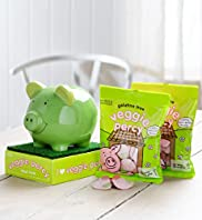 Veggie Percy - Ceramic Piggy Bank & Veggie Percy Sweets Hamper