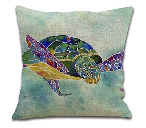 18 39 Inches Onemtoss Cotton Linen Square Throw Pillow Case Cushion Cover For Living Room Sea