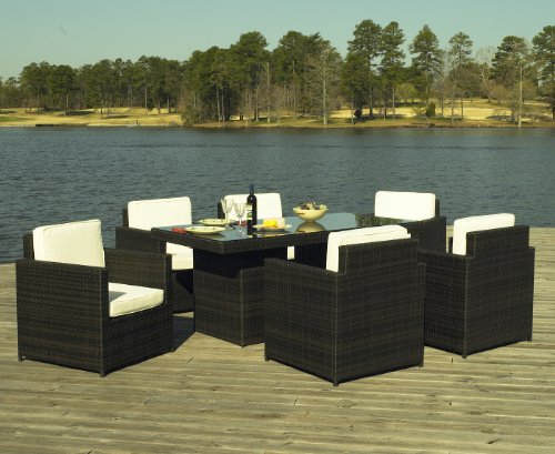 Outdoor wicker dining set monaco collection cheap for Affordable outdoor dining sets