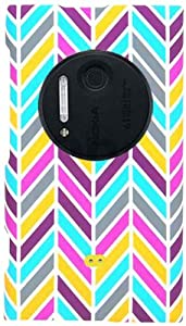 Cell Armor Snap Case for Nokia Lumia 1020 - Retail Packaging - Blue/Pink/Yellow Chevron on White