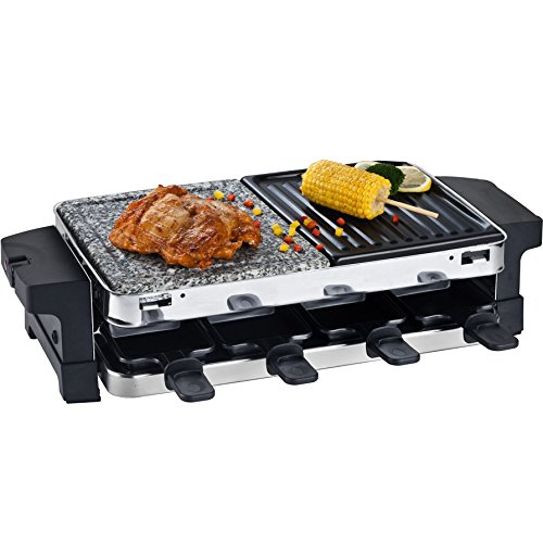 syntrox germany edelstahl design raclette bern mit grill und hei er stein f r 8 personen. Black Bedroom Furniture Sets. Home Design Ideas