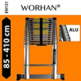 WORHAN® 4.1m (13' 5'') Telescopic Extendable Multipurpose Aluminium Extension Ladder WITH ALUMINUM RINGS and Stabilizer Bar Step Ladder (4.1m ladder)