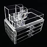 Banyan Makeup Cosmetics Organizer Clear Acrylic 3 Drawers Display Box Storage New