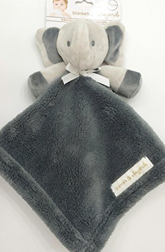 26155e9502 Blankets and Beyond Charcoal and Grey Elephant Baby Security Blanket Plush
