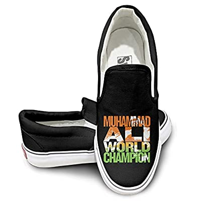 PTCY MuhammadAli World Boxing King Casual Unisex Flat Canvas Shoes Sneaker Black