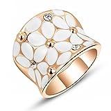 GEORGE SMITH  レディース ガールズ指輪 人気 ブランド ファション フラワーリング ステンレスリング ギフト 結婚式 誕生日 ピンクゴールド 豪華 シンプル アクセサリー ダイヤリング (ピンクゴールド, 16)