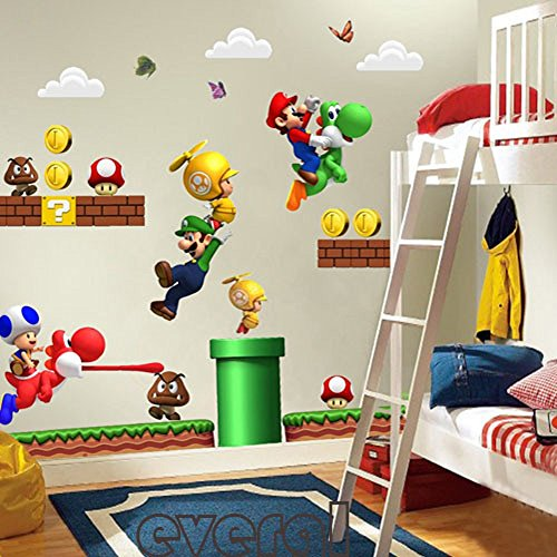 Room Decor for Kids - Adesivo da parete con motivo cartone animato di Super Mario