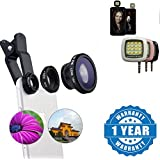 Captcha One Plus 3T Compatible Certified 3 In 1 Universal Clip Mobile Phone Lens Fish Eye With Portable 16 Led Selfie Flash Fill Flash Light (1 Year Warranty)
