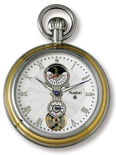 Avalon Two-Tone Sun Moon 24 Hour Mechanical Pocket Watch with Built In Display Stand # 8430TX