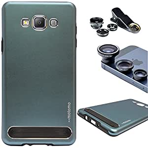 DMG Motomo Ultra Tough Metal Shell Case with Side TPU Protection for Samsung Galaxy A7 (Gun Metal) + 3in1 Fisheye Wide Angle and Macro Lens