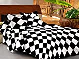 Casa Basics -144 TC Ezy Collection Black & White Box 100% Cotton Double Bedsheet With 2 Pillow Covers