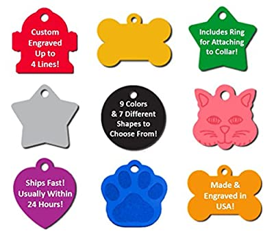Pet ID Tag Custom Engraved Dog Cat Personalized Free Engraving   Many Shapes and Colors to Choose From!   MADE IN USA, Strong Anodized Aluminum