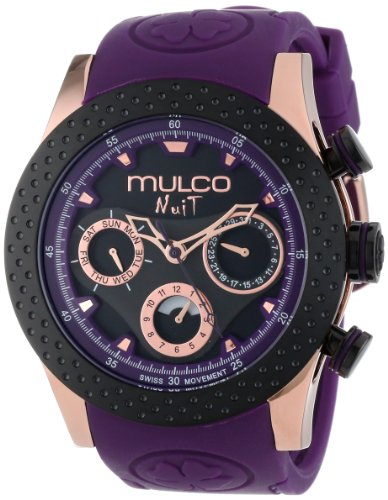 MULCO HOMME 46MM CHRONOGRAPHE VIOLET SILICONE BRACELET DATE MONTRE MW5-1962-087