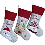 Wewill Brand Lovely Christmas Stockings Set of 3 Santa, Snowman, Reindeer, Xmas Character 3D Plush Linen Hanging Tag Knit Border (1)