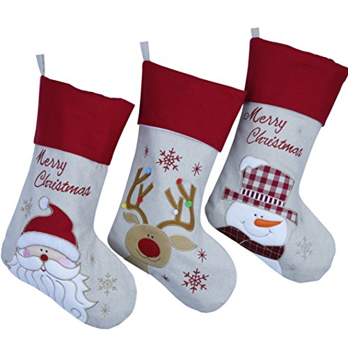 Wewill Lovely Christmas Stockings Set of 3 Santa, Snowman, Reindeer, Xmas Character